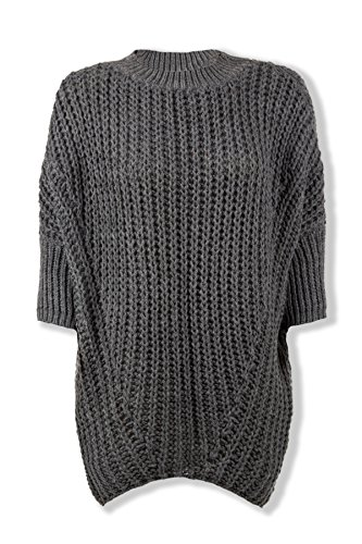 Modischer Pullover im Oversize-Look in Braun, Blau, Grafit, Bordeaux, Schwarz Grafit