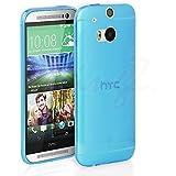 HTC One M8 funda, Ultra Thin Slim Transparente TPU Silicona Funda Carcasa Gel TPU Transparente - Azul