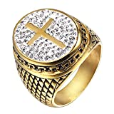 LANCHENEL Kreuzritter Herrschsüchtig Templer Herren Titan Stahl Kreuz Diamant Ringe,Größe 72 (22.9)