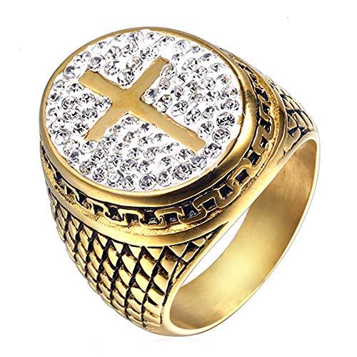 HTEGAE Männer Ritter Tempelritter Diamant Herrschsüchtig Kreuzfahrer Titan Stahl Ringe,Größe 75 ()