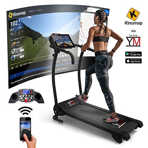 YM Tapis ROULANT Elettrico Pieghevole Bluetooth 1500 W App I FITSHOW SENSORE Cardiaco Cardio 1500 W...