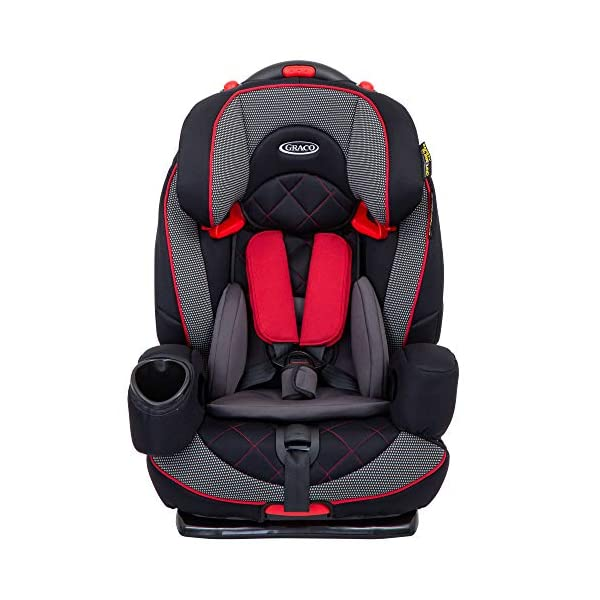 Graco Nautilus Elite Saturn Harnessed Booster Car Seat, Group 1/2/3, Red/Black Graco 2-in-1 convertible car seat for children 9 to 36 kg (approx 9 months to 12 years) From toddler to big kid, nautilus elite grows with your child; the no-rethread harness allows you to easily adjust the harness and headrest together Convenient one-hand height and width adjustable headrest 1