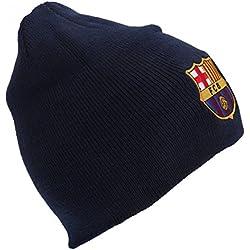 FC Barcelona - Gorro Beanie Oficial de Invierno de Punto Modelo Core Crest Hombre Caballero (Talla Única/Azul Marino)