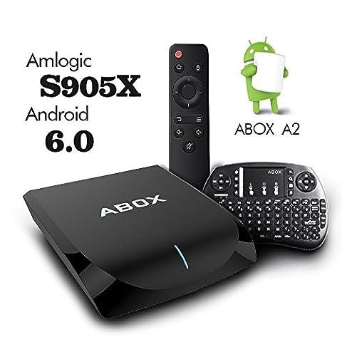 2017 Modell Globmall ABOX Android 6.0 TV-Box 2GB RAM 16GB ROM AmlogicS905X 64 Bits Quad Core WiFi 2.4GHz / 5GHz Bluetooth 4.0
