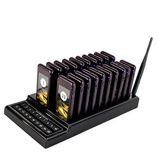 T111 Drahtloses Gästeruf- Kundenrufsystem Paging-System 20 Pager mit 20 Batterieauflade-Steckplätze für Restaurant Food Court Pizzeria Kirche und Auto Show (Schwarz)