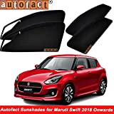 #10: Autofact Magnetic Window Sunshades/Curtains for Maruti Swift 2018 [Set of 4pc - Front 2pc with Zipper ; Rear 2pc Without Zipper] (Black)