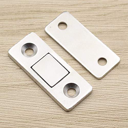 Tookie - Pestillo de Puerta corredera magnético para Muebles de hogar, 2 Unidades, Resistente, Ultrafino, con Tornillos, Plateado, Tamaño Libre