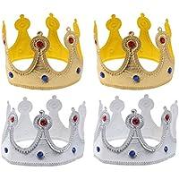 STOBOK Corona Cappelli Compleanno di Carta per Bambini e Adulti 4 Pezzi (2  Oro e 0645e211562f
