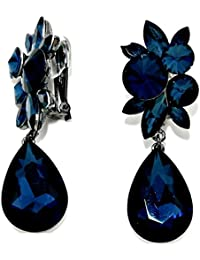 Schmuckanthony Luxus Lange Clip On Clips Klips Ohrclips Ohrringe Kristall Montana Blau Marine Dunkelblau