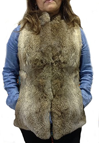 Chinchilla Pelz Jacke (Alpacaandmore Damen Chinchilla Rabbit Pelzweste hellbraun (Medium))