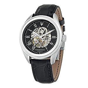 Maserati Reloj Analógico Automático para Hombre con Correa de Cuero –