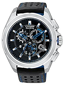 Citizen Proximity Men's Eco-Drive  Watch with Black Dial Chronograph Display and Black TPU Strap AT7030-05E