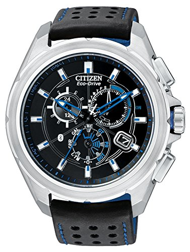 Citizen Proximity Bluetooth Herren Armbanduhr Citizen Eco-Drive mit Schwarz Zifferblatt Chronograph-Anzeige und TPU Gurt schwarz AT7030-05E