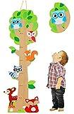"""3-D Meßlatte aus Holz - """" Baum - lustige Eule"""