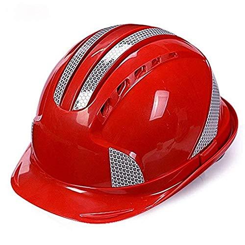 WYNZYSLBD Schutzhelmaufbau, Unisex-Schutzhelm Mit Kinnriemen, Arbeiterhelm Mit Belüftung (Color : Red)