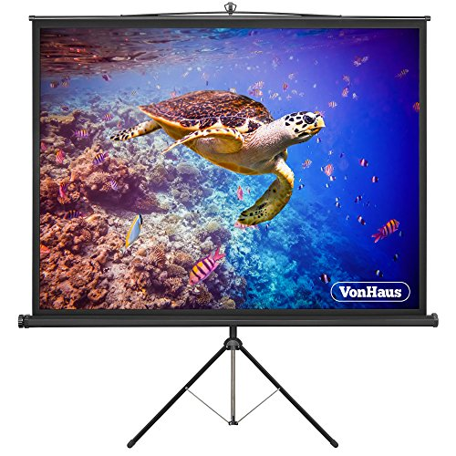 VonHaus 86-Inch Projector Screen with Tripod Stand | Adjustable Height | (W) 172 x (H) 130 cm | 4:3 Aspect Ratio | Matte White
