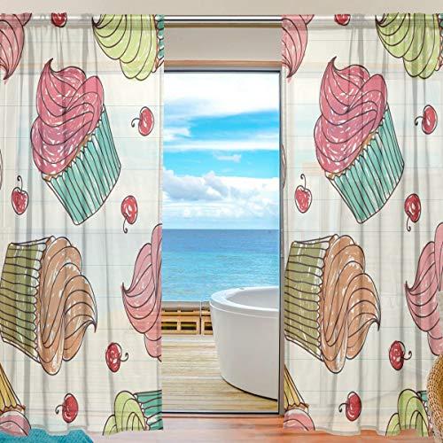 TIZORAX Scheibengardine für Wohnzimmer, Gardinenstange, Fensterbehandlung, durchscheinender Voile-Vorhang für Schlafzimmer, 1 Paar, 139,7 x 198 cm, Polyester, Multi, 55