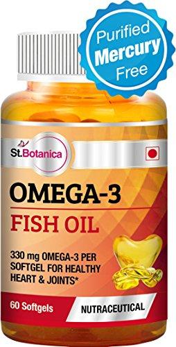 St.Botanica Omega 3 Fish Oil 1000mg - 330mg Omega 3 (180EPA, 120 DHA) - 60 Softgels