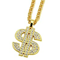 Hip Hop Gold Color Dollar Sign Pendants & Necklaces With Long Twist Chain Statement Neckalce For Woman Men
