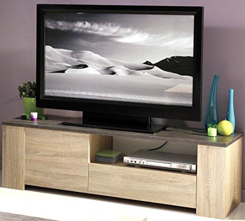 Lowboard Fumio 2 Eiche natur Nachbildung Steinoptik 138x41x40cm TV-Möbel Wohnzimmer Wohnwand Schrankwand