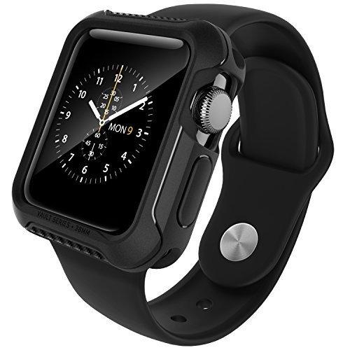 Caseology Funda Apple Watch 2 38 mm, [Serie Vault] Fino Amortiguador de TPU Protector Resistente a los Golpes [Negro Mate] para el Apple Watch Serie 2 (2016) - Solo 38 mm