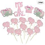 Winko Pink Elefant Tortenaufsatz Baby Elefant Mottoparty Cupcake Picks ES IST EIN MÄDCHEN BABY Dusche Geburtstag Party Dekorationen Supplies
