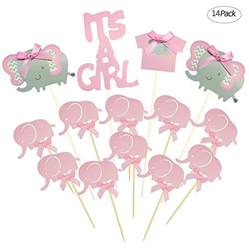ortenaufsatz Baby Elefant Mottoparty Cupcake Picks ES IST EIN MÄDCHEN BABY Dusche Geburtstag Party Dekorationen Supplies ()