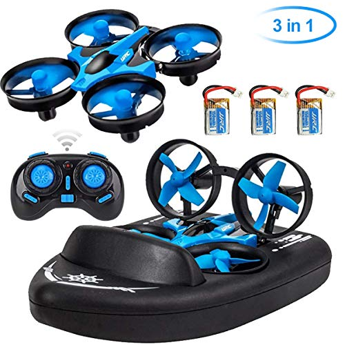 JJRC Mini Drohne Fernbedienung Boote Drohne für Pools und Seen 3 in 1 Sea-Land-Air-Modus umschaltbar wasserdicht Hovercraft Boot RC Quadcopter für Kinder und Erwachsene (mit 3 Batterien)