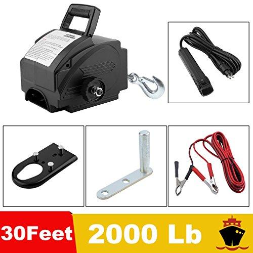 2000 Lb 12 V Eléctrica Cabestrante Motor Torno de Barco Cabrestante (Torno de Cuerda Motor Torno de Auto Boat Lift Incluye Gancho de Fijación y Accesorios)