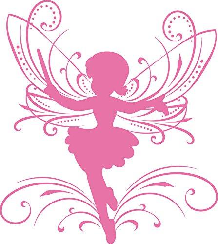 GRAZDesign Wandtattoo Kinder selbstklebend Wunderschöne Elfe mit Ornamenten - Wandgestaltung Kinderzimmer Feen und Elfen - Wandtattoo Kinderzimmer Mädchen / 34x30cm / 730141_30_045