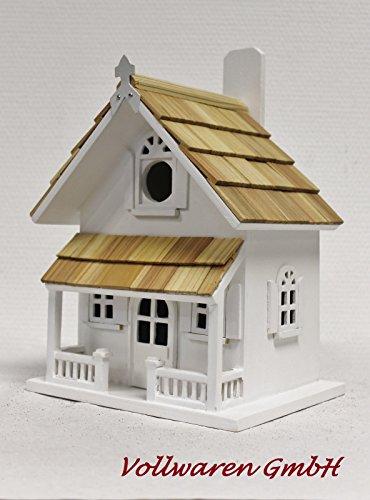 VIKTORIANISCHE VOGELVILLA KELLY Nistkasten Holz weiss + Holzschindeln Vogelhaus
