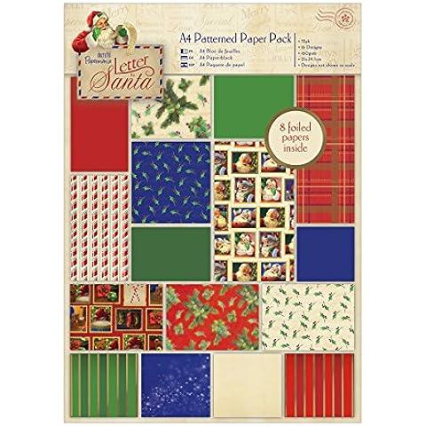 Docrafts Letter to Santa - Confezione di carta per progetti di decoupage, formato A4, motivo natalizio, 32 pezzi