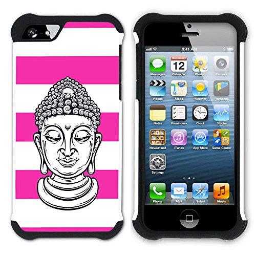 Graphic4You Buddha-Kopf Linien Muster (Orange) Hart + Weiche Kratzfeste Hülle Case Schale Tasche Schutzhülle für Apple iPhone SE / 5 / 5S Fuchsie