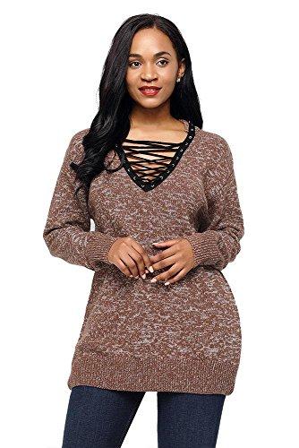AN-LKYIQI Maglioncino elegante da donna con maniche lunghe lavorato a maglia e scollo rotondo per interni e autunnali Brown