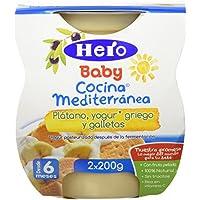 Hero Baby Cocina Mediterránea Plátano Yogur Galleta, Tarrina de Plástico - Paquete de 2 x 200 gr - Total: 400 gr - , Pack de 6