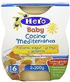 Hero Baby Cocina Mediterránea Plátano Yogur Galleta, Tarrina de Plástico - Paquete de 2 x 200 gr - Total: 400 gr - [Pack de 6]
