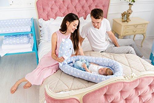 Preisvergleich Produktbild ComfortBaby ® multifunktionales Babynest (80 x 52 cm) Baby-Reisebett für Neugeborene. (BlauMitWeissenKreisen)