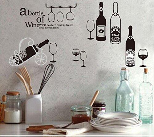 Weaeo Mode Flasche Rotwein Wein Glas Diy Abnehmbare Wand Aufkleber Bar Kaffee Tee Shop Fenster Aus Glas Dekor Wandbild Aufkleber