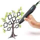 Amzdeal 3D Stylo imprimante, 3D Pen pour 3D dessins 3D stéréoscopiques impression Pen avec adaptateur UE, câble USB et 2 paquets de filaments -Noir