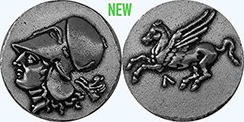 Athena, Goddess of Wisdom, and Pegasus Beautiful Winged Horse Coin, Version 4, (# 85FL-S) 21 mm, 4