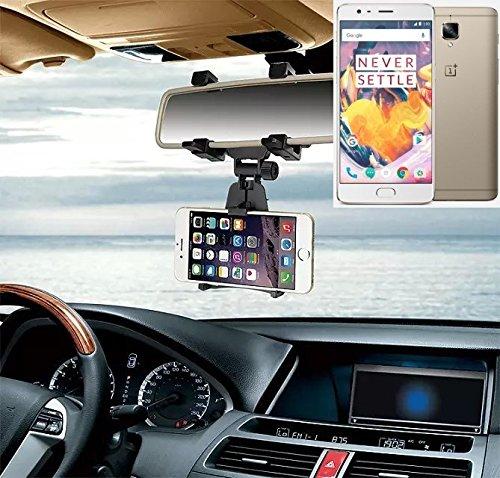K-S-Trade Für OnePlus 3T Smartphone Halterung Rückspiegel Halterung schwarz Auto Halterung für OnePlus 3T Spiegel KFZ Halter