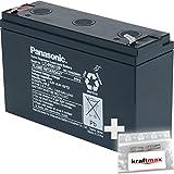1x Panasonic 6V / 12Ah AGM Blei-Akku - LC-R0612P  Faston 4,8  inkl. 2x Original Kraftmax Anschluß-Adapter