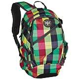 Chiemsee 5040024 Rucksack Techpack, cooler Trekkingrucksack, universell einsetzbar, super leichter Schulrucksack im trendigen Design, kompakter Outdoorrucksack mit Fronttaschen, unisex, modernes Bag, Bagpack in Checker Blazin bunt (grün-gelb-schwarz-rot), 31 x 47 x 18 cm