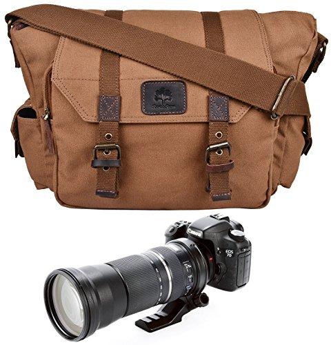 Rustikal Town Herren Canvas Leder DSLR SLR Vintage Kameratasche Messenger Bag Geschenk für Ihm Ihre, hellbraun (Braun) - 732030817814 (Leder Gold Distressed)