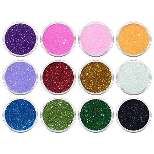 12 Döschen Nailart Glitzerpuder Glimmer Glitter Glitterstaub Box 3 in verschiedene irisierenden Farben