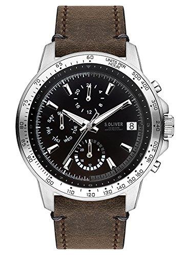 s.Oliver Herren Multi Zifferblatt Quarz Uhr mit Leder Armband SO-3487-LM