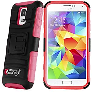 JAMMYLIZARD | Coque S5 S5 New - Galaxy S5 Coque incassable back cover rigide à stand vidéo coque incassable S5 S5 New coque à bords anti-dérapant, Rouge