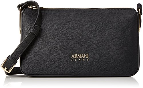 Armani Jeans Damen Borsa Tracolla Baguette, Schwarz (Nero), 17x8x28 cm