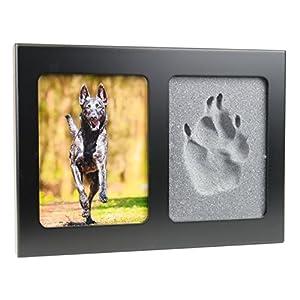 pet imprint Pfotenabdruck 3D Set Formschaum grau Hund, Katze Bilderrahmen aus Holz in schwarz ohne Gips