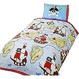 Funda para edredón y almohada de cama individual (135 x 200 cm), diseño de piratas para niños